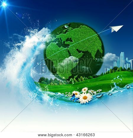 Green Earth. Abstract Environmental Backgrounds For Your Design