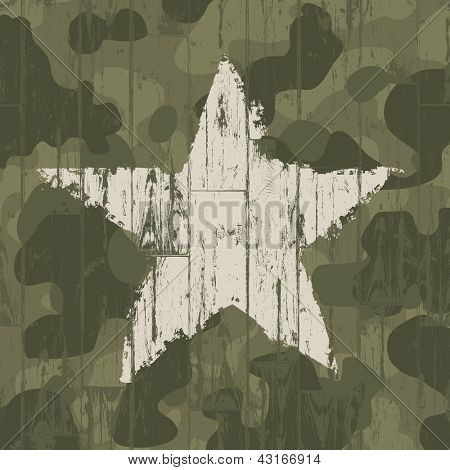 Military camouflage background with star. Raster version, vector file available in portfolio.