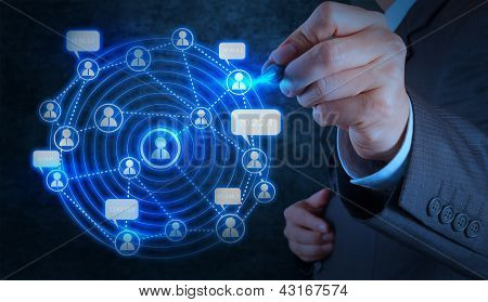 Businessman Hand Working With New Modern Computer Show Social Network