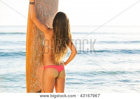 beautiful sexy young woman surfer girl in bikini with surfboard on a beach at sunset