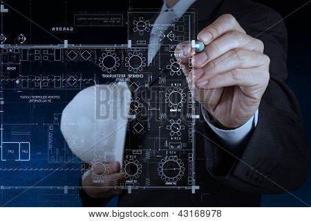 Businessman Hand Drawing Interior Construction Site