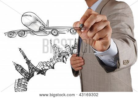 Businessman Draws Airplane Travel Around The World