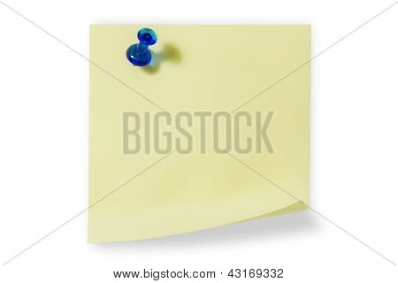 Sticky Note With Blue Push Pin
