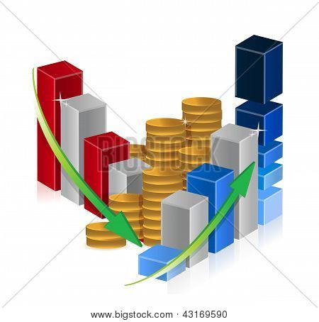 Up And Down Business Graphs And Coins