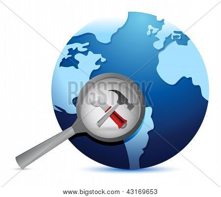 Tools , Earth Globe And Magnify Glass