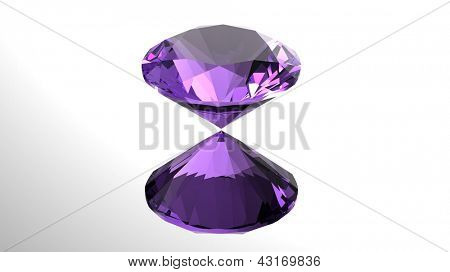 Jewelry gems roung shape on white background Amethyst
