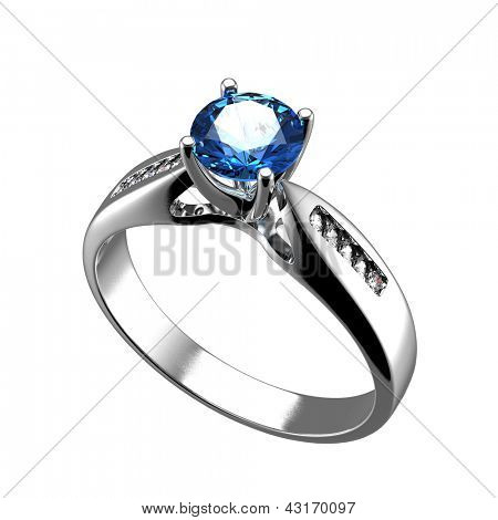 Wedding ring with diamond on white background. Sign of love. Sapphire