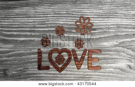 wooden Isolated love symbol in a stylish background