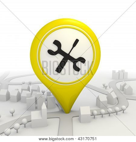 Mechanic icon  inside a yellow map pointer