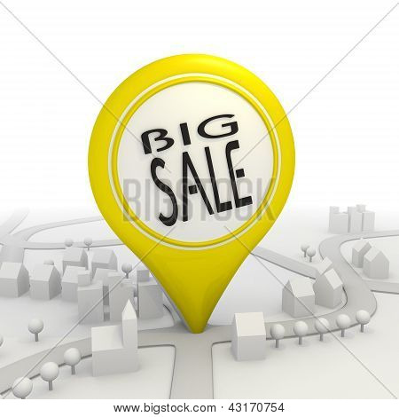 Isolated big sale icon  inside a yellow map pointer