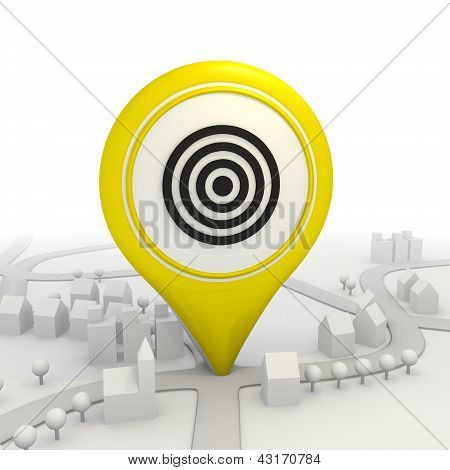 Sight disk icon  inside a yellow map pointer