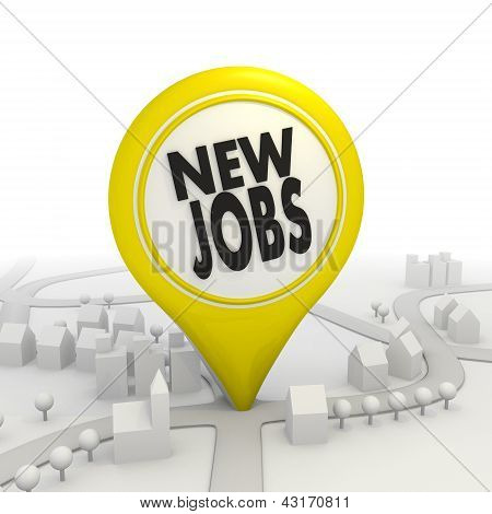 New jobs pictorgram inside a yellow map pointer