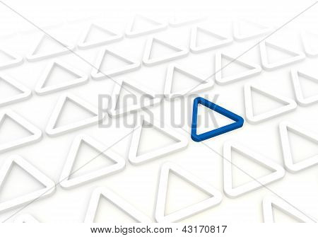 Elegant triangle pictogram in a stylish white background
