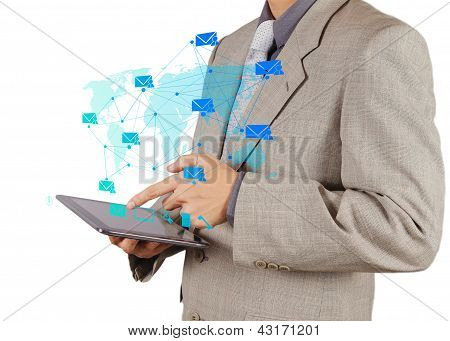 Businessman Hand Working With Tablet Computer Sending Email