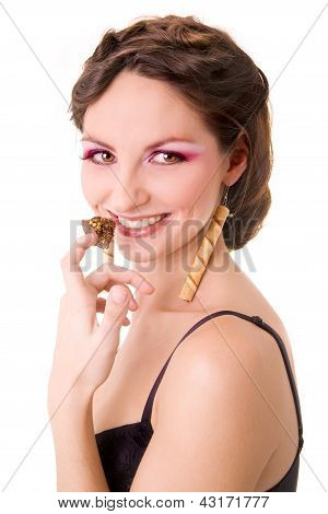 Smiling Beautiful Girl Holding Chocolate Candy