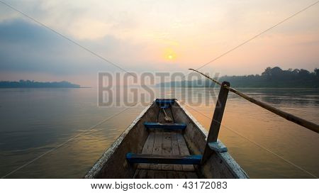 Morning of the lake with  the boat