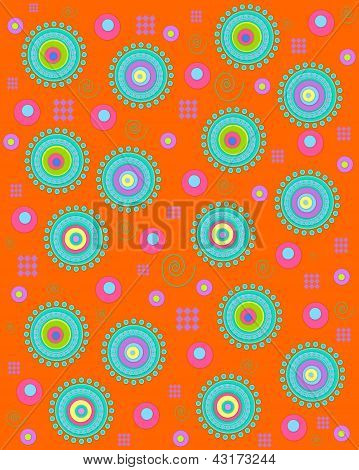 Dots Encircling On Orange
