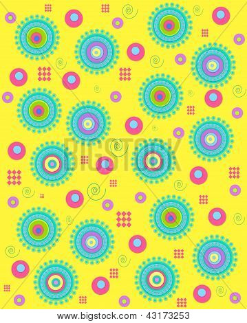 Dots Encircling On Yellow