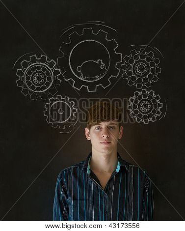 Thinking Businessman With Gear Cogs And Hamster