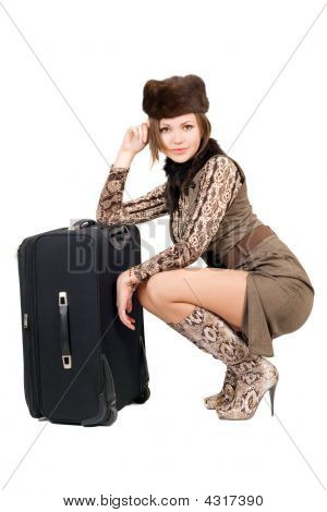 Young Beautiful Woman With A Suitcase. Isolated