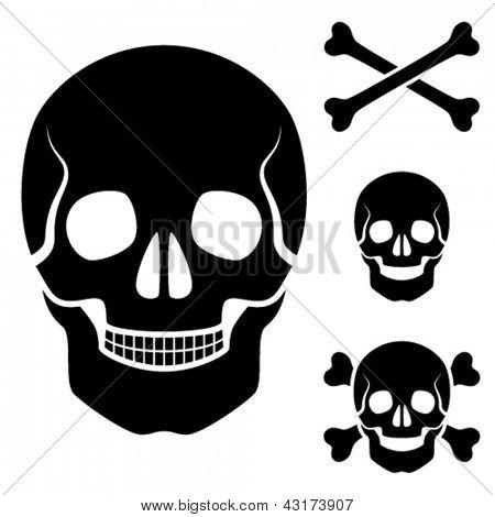 Crânio humano de vetor Cruz símbolo de ossos