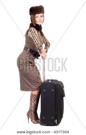 Young Beautiful Lady With A Suitcase. Isolated