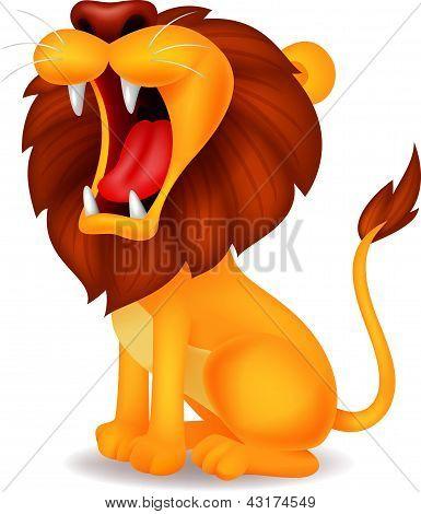 Dibujos animados de león rugiendo