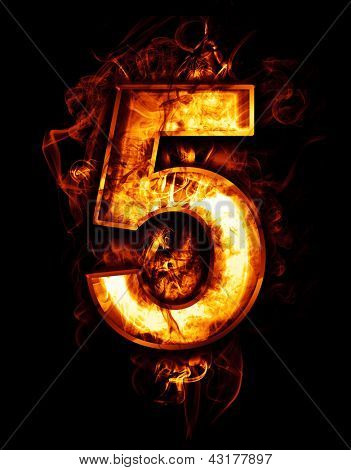 five, illustration of  number with chrome effects and red fire on black background