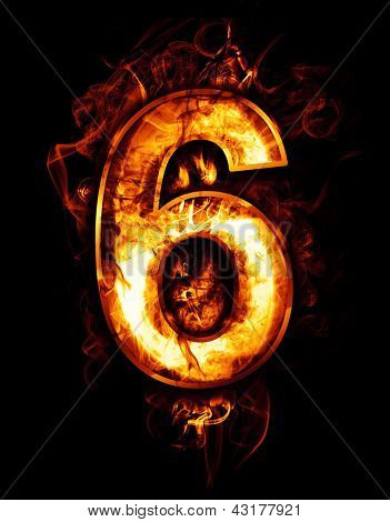 six, illustration of  number with chrome effects and red fire on black background