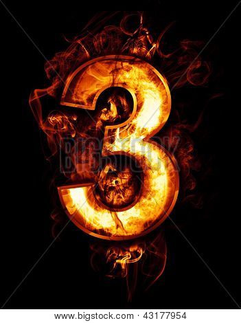 three, illustration of  number with chrome effects and red fire on black background
