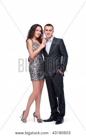 junges Paar tragen Abendkleid und Anzug