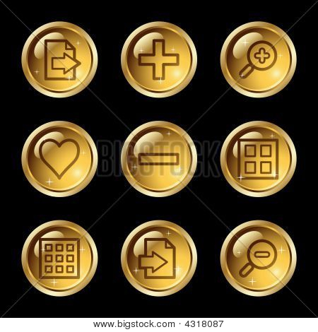 Image Viewer Web Icons, Gold Glossy Buttons Series
