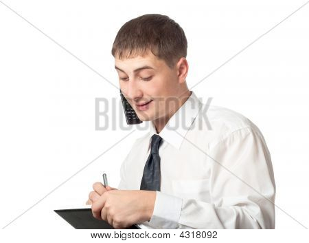 Businessman Talking And Writing