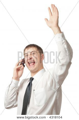 Businessman Calling By Phone And Rising Up Hand