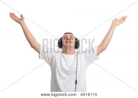 Young Man Enjoying The Music