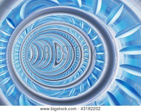 Perspectiva conceptual de abstracto 3D render de un fondo de túnel o tubo de curva futurista