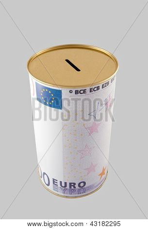 Euro Coin Bank With Clipping Path