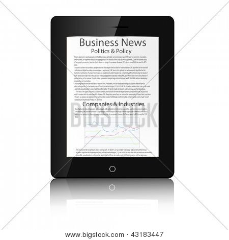 Realistic tablet pc computer with business news.Vector illustration.
