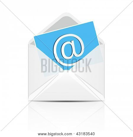 E mail concept. Vector white envelope with email sign icon.
