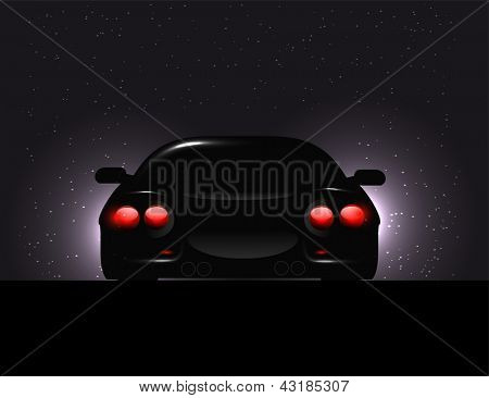 Silhouette of car with backlights on  dark background.