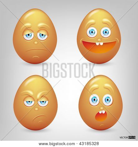 Vector illustration set of eggs emoticons.