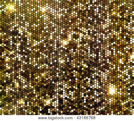 Fundo de glitter ouro sparkle. Parede de lantejoulas cintilantes.