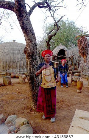 Zulu woman in traditional closes in Shakaland Zulu Village, South Africa