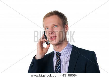 Handsome Businessman Talking On Cell Phone