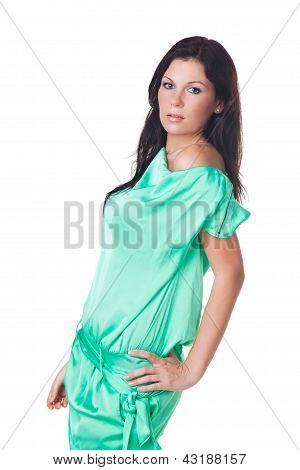 Beautiful Brunette Model In Green Dress