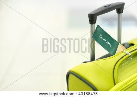 Travel suitcase on white background.