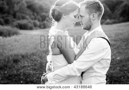 Happy couple on wedding day. Bride and Groom.