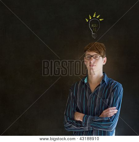 Bright Idea Lightbulb Thinking Business Man