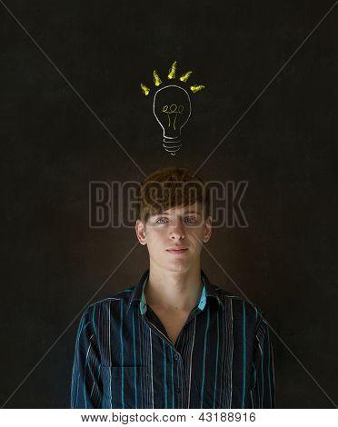 Bright Idea Lightbulb Thinking Business Man