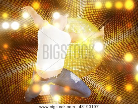 Jumping Man On Dotted Disco Background
